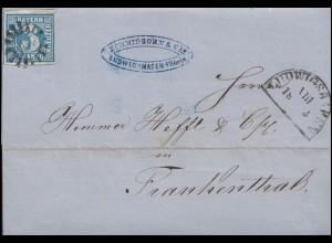 Bayern 2II Ziffer 1 Kr. Brief Halbkreis LUDWIGSHAFEN VIII 18.3.57 mit Mühlrad-O
