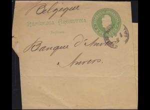 Argentinien Streifband 2 Centavos hellgrün BUENOS AIRES nach Anvers / Belgien