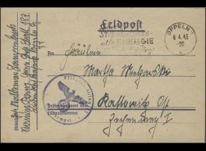 Feldpost-Brief Ersatz-Bataillon 183, Oppeln 6.4.1943 nach Kattowitz