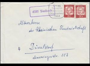Landpost-Stempel Siesbach mit 352 MeF Brief IDAR-OBERSTEIN 2.3.1963