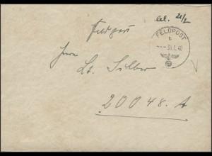Feldpost-Brief Postfach 20017 Feldpost b 30.1.1940 zum Postfach 20048A