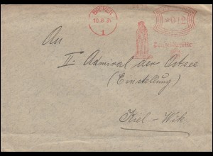 AFS Bremen Polizeidirektion 10.8.34 mit Rolandsäule auf Brief nach Kiel-Wik
