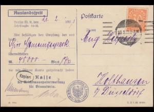 20 Dienstmarke als EF auf Postkarte Reichverwaltung Branntwein BERLIN 23.2.1921