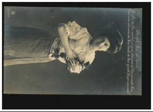 AK Frauen: Frau mit Rosenzweig, Du rote Rose du allein, Chemnitz 24.06.1909