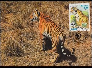 WWF World Wildlife Laos Indischer Tiger 1984, auf zwei Maximumkarten 1984