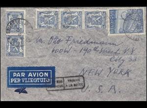 Belgien 812 Textilindustrie 3 Fr. MiF mit 422 Brief BRÜSSEL 24.8.48 in die USA