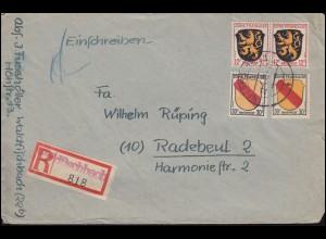 6+10 Wappen-MiF R-Brief Not-R-Zettel WALDFISCHBACH 22.3.1947 nach Radebeul
