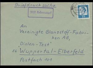 Landpost-Stempel Rebenstorf Briefdrucksache LÜCHOW 2.5.1963 nach Wuppertal