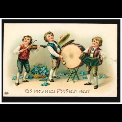 Prägekarte Pfingsten Kinder beim Musizieren, BREMERVÖRDE 9.5.1913