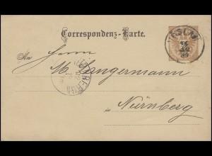 Österreich Postkarte P 43 Kammgarnfabrik VÖSLAU 11.12.84 n. Nürnberg 12.12.84