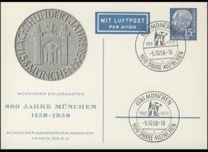 P 9/3 Heuss 15 Pf München & Dukaten-Vorderseite SSt München 800 Jahre 5.10.1958