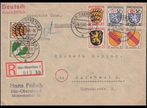 1ff Wappen-Frankatur 1, 3, 5, 8, 20, 24 Pf. MiF R-Brief IDAR-OBERSTEIN 14.11.46