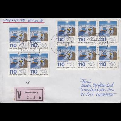 1100 Polarforschung MeF 10 Marken Wert-Brief KÖLN 30.8.97 n. Viersen + E-Schein