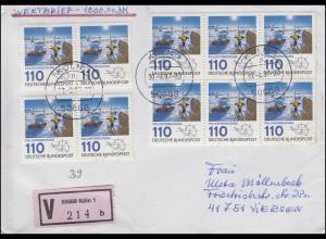 1100 Polarforschung MeF 10 Werte Wert-Brief KÖLN 30.8.97 n. Viersen + E-Schein