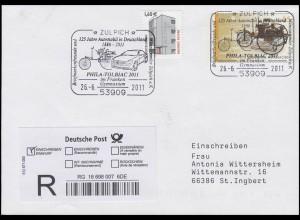 Plusbrief USo 239 Automobil Mercedes Benz, R-Bf SSt Zülpich 26.6.2011 + E-Schein