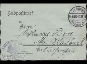 Feldpost-Kartenbrief Gericht Mobil-Etappen-Kdtr. Nr. 6 FELDPOST 186 -17.11.15