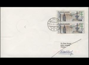 Tschechoslowakei PRAGA 1988, MiF auf Brief Prag 25.10.1992