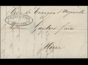Frankreich Vorphilatelie Faltbrief Angoulême nach Aigre, 19.8.1841