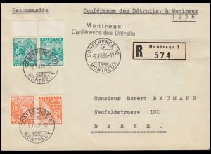 Schweiz Zusammendruck Landschaften K 28 und K 30 auf R-Brief SSt MONTREUX 8.7.36