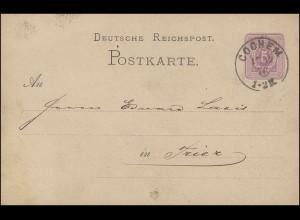 Postkarte P 5 Ziffer 5 Pfennige, COCHEM 17.12.1876 mit Ausgabe-O TRIER 18.12.76
