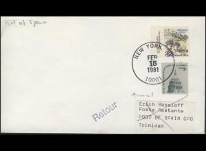 USA-Erstflug New York-Port of Spain/Trinidad, Gebrüder Wright, New York 15.2.81