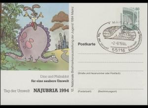 PP 153 zur NAJUBRIA 1994 Dino, Philrabbit / Umwelt, SSt Mainz 2.9.94
