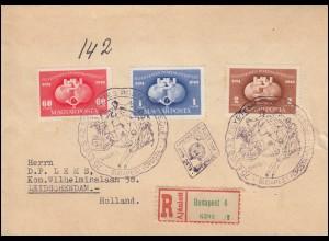Ungarn 1056-1058A Weltpostverein UPU 1949 auf Auslands-FDC ESSt BUDAPEST 1.11.49