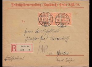 20 Dienstmarke als MeF auf Brief Reichsschuldenverwaltung BERLIN 29.1.1921