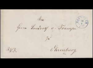Hannover Dienstpost Briefhülle Zweikreisstempel HANNOVER 18.6. nach Ehrenburg
