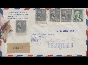USA-R-Bf MiF Bosten / Zweiellipsenstempel n. Colomo/Ceylon 11.12.63 und zurück