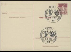 P 70 Bauwerke 8 Pf SSt. Bonn 20 Jahre Status des Europarates 5.5.1969
