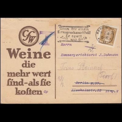 Firmenlochung CFW auf Goethe 3 PF als EF auf Drucksache BERLIN 21.7.28