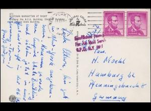 USA Manhattan Flugpost Insufficient for Air Mail, NEW YORK 9.1.62 nach Hamburg