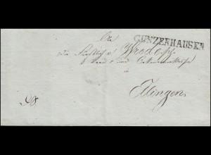 Bayern Vorphilatelie Brief mit Einzeiler GUNZENHAUSEN (12.7.1827) nach Ilingen
