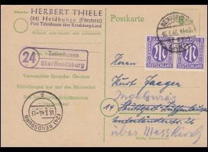 Landpost Tetenhusen über RENDSBURG LAND 15.5.1946 auf Postkarte P 783