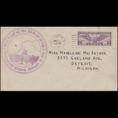 Erstflug Route AM 23 P.O.D. Montgomery Alabama 15.2.1932, Bf nach Detroit/Mich.