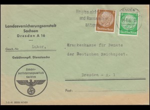 Firmenlochung Symbol V.A. Hindenburg-Marken 3+8 Pf MiF Ortsbrief DRESDEN 24.8.42