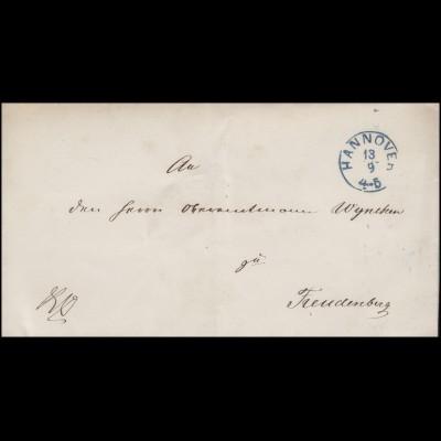 Hannover Briefhülle Zweikreisstempel HANNOVER 13.9. n. Freudenberg