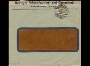 Firmenlochung TG auf Germania 60 Pf. als EF auf Brief WALTERSHAUSEN 13.7.21