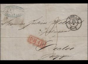 Preußen Vorphilatelie Rechnung COELN / KÖLN 26.3.1859 nach EECLOO/EEKLO 27.3.59