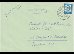 Landpost-Stempel Öpfingen Briefdrucksache EHINGEN (DONAU) 4.5.1963 n. Wuppertal