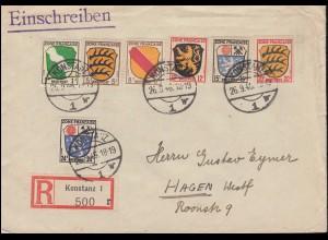 1ff Wappen-Frankatur 1, 5, 8, 12, 15, 20 und 24 Pf auf R-Brief KONSTANZ 26.9.46