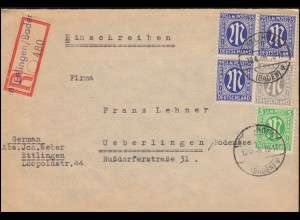 2+3+9+ AM-Post als MiF auf R-Brief Not-R-Zettel ETTLINGEN (BADEN) 13.4.1946