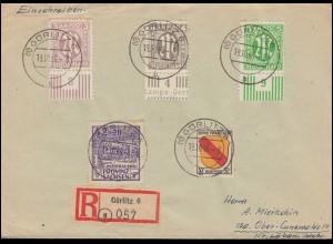 17+18+19+AM-Post mit UR + SBZ 89A + FZ Allgemein 10 MiF R-Brief GÖRLITZ 19.10.46