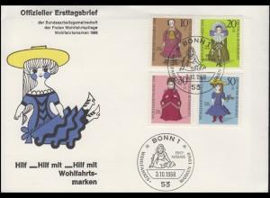 571-574 Wofa: Historische Puppen, Satz auf Schmuck-FDC ESSt Bonn 3.10.1968