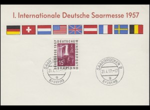 Messekarte I. Internationale Deutsche Saarmesse 1957 Saarbrücken Ersttag 20.4.57