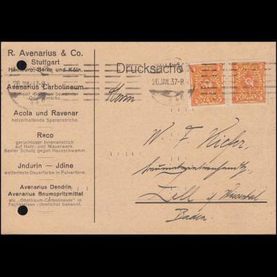 Firmenlochung R.A. & Co auf Posthorn 5 Mark MeF Drucksache STUTTGART 26.1.23