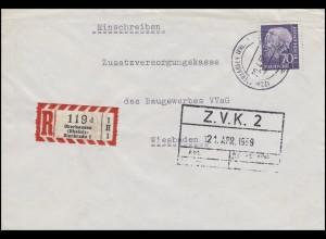 263x Heuss 70 Pf EF R-Bf Oberhausen Rheinland Sterkrade 20.4.59 nach Wiesbaden