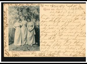 AK Henry de Vry's berühmte lebende Bilder: Im Maien zu Dreien, MAGDEBURG 28.7.98