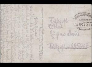 Bahnpost ASCHERSLEBEN - QUEDLINBURG ZUG 1924 - 24-8-40 auf AK Feldpost 08564F